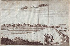 Hasle, Bornholm - Hasle from the north with Rønne in the distance. Engraving by Jonas Haas (18th century)