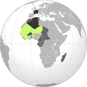 French Upper Volta - Dark green: French Upper Volta. Light green: French West Africa. Dark gray: Other French possessions. Darkest gray: French Republic.