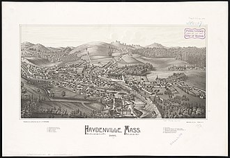 Williamsburg, Massachusetts - Print of Haydenville from 1886 by L.R Burleigh with listing of landmarks depicted