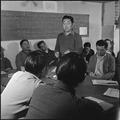 Heart Mountain Relocation Center, Heart Mountain, Wyoming. Block manager, Tom Oki, presiding in a s . . . - NARA - 539721.tif