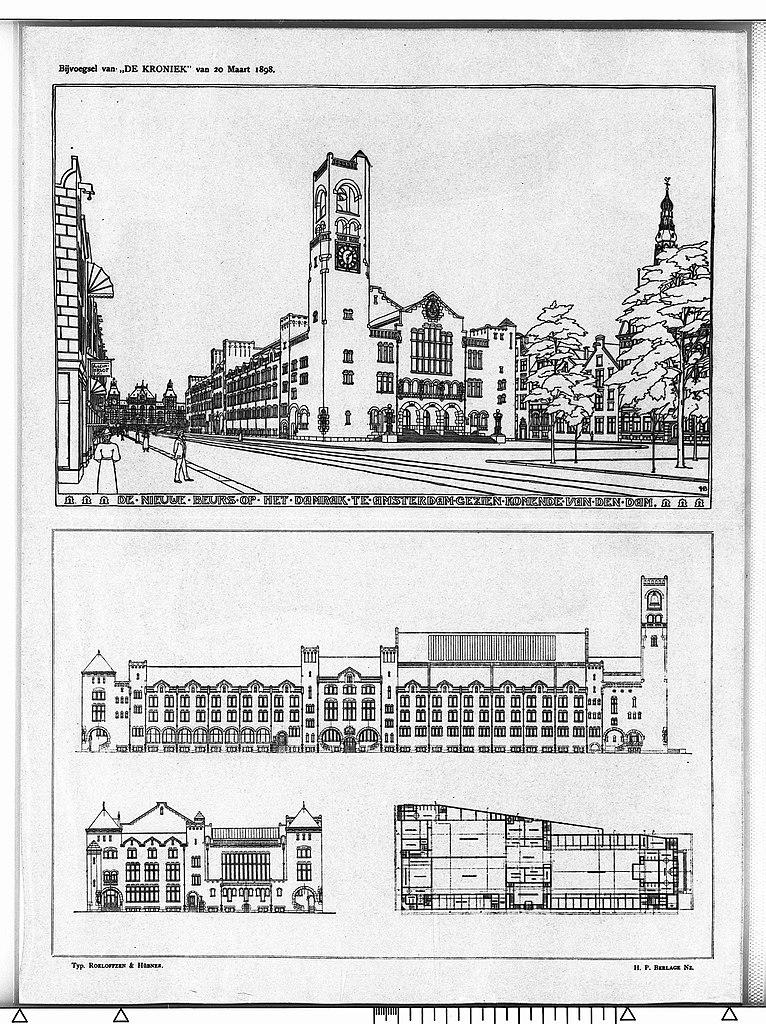 Croquis de construction du Berlage à Amsterdam.