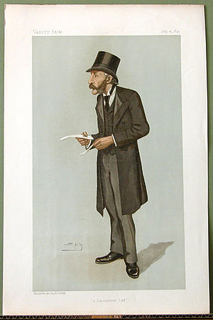 """Henry Hoyle Howorth - """"a Lancashire Lad"""". Caricature by Spy published in Vanity Fair in 1895."""