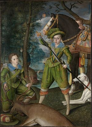 Robert Peake the Elder - Portrait of Henry, Prince of Wales (centre), and John Harington, later 2nd Lord Harington of Exton, by Robert Peake the Elder, 1603