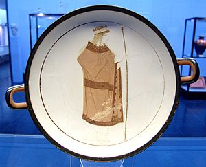 White ground technique - Hera on the tondo of an Attic white-ground kylix (type IV) found at Vulci, by the Sabouroff Painter (ca. 470 BC)