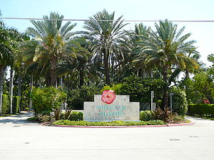 Road entrance to Hibiscus Island in Miami Beach, north of Palm Island and the MacArthur Causeway