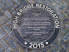 High Bridge re-opening - plaque High Bridge Restoration