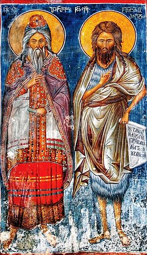 Zechariah (priest) - Zechariah and St. John the Baptist. A medieval Georgian fresco from Jerusalem.
