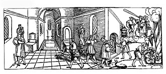 "Beeldenstorm - A German woodcut of 1530 titled Klagrede der armen verfolgten Götzen und Tempelbilder (English: ""Complaint of the poor persecuted idols and temple pictures"") by Erhard Schön."