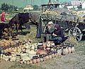 Horse-drawn carriage, fair, colorful, horse, double portrait, chariot, coach, pottery, jar, pot, village, market Fortepan 729.jpg