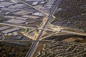 Interstate 355 - Interchange with I-55 in Bolingbrook, formerly the southern terminus of I-355