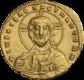 INC-3041-a Номисма стамена. Никифор II Фока, Василий II, Константин VIII. Ок. 963—969 гг. (аверс).png