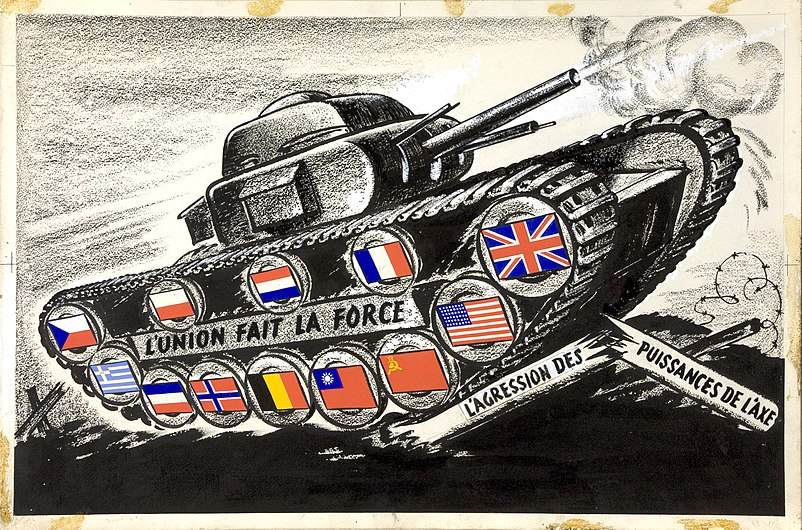 INF3-314 Unity of Strength Tank with allied flags on track driving wheels.jpg