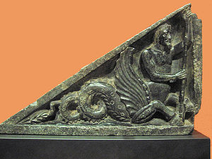 Stair riser - A side stair riser depicting an Ichtyo-Centaur, also considered as a Buner relief.