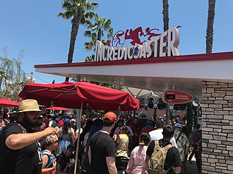 Incredicoaster - The ride loading area and the entrance to the Incredicoaster at the Disney California Adventure Park (2018)