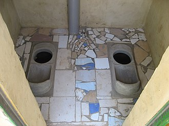 Urine-diverting dry toilet - Double-vault UDDT used in squatting position in Ouagadougou, Burkina Faso