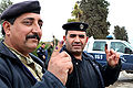 Iraqi policemen after voting early in parliamentary election, Arapha, 2010-03-04.jpg