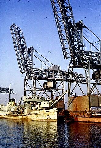 Bidston Dock - The iron ore unloading cranes at Bidston Dock in 1964
