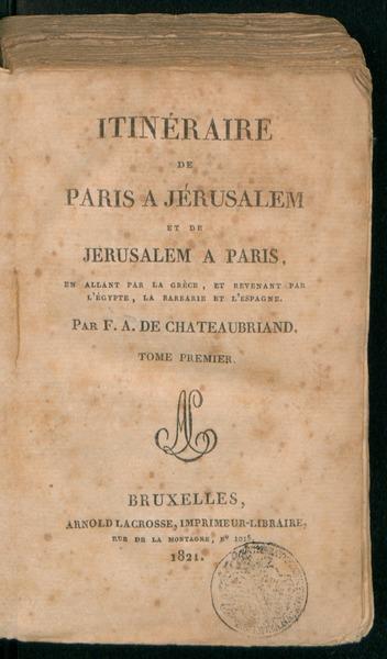 Itinéraire de Paris a Jérusalem et de Jérusalem a Paris