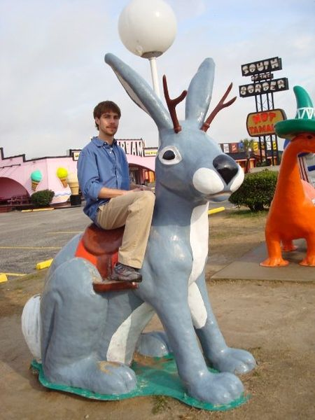 Jackalope statue at South of the Border tourist attraction, South Carolina