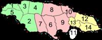 Paróquias da Jamaica aprupadas em condados