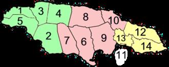 Jamaica parishes numbered2