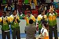 Janeth Arcain - Rio 2007 women's basketball podium.jpg