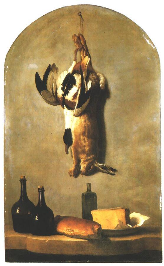 Nature morte (lièvre, canard, bouteilles, pain et fromage)