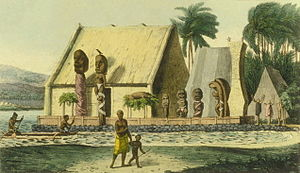 Hawaiian religion - A depiction of a royal heiau (Hawaiian temple) at Kealakekua Bay, c. 1816