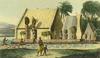Hawaiian religion - A depiction of a royal heiau (Hawaiian temple) at Kealakekua Bay, c. 1816