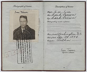 Jean Toomer - Jean Toomer's passport (1926)