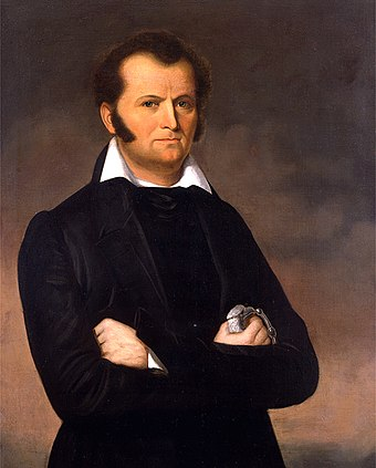 James Bowie arrived at the Alamo Mission on January 19 with orders to destroy the complex. He instead became the garrison's co-commander. Jimbowie.jpg