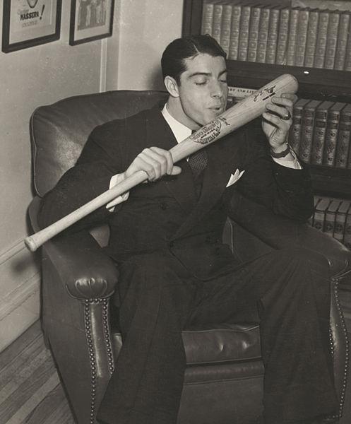 File:Joe DiMaggio salutes his bat.jpg