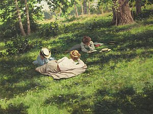 Three reading women in a summer landscape