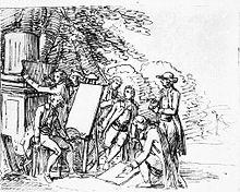 Johann Wolfgang von Goethe in seinem italienischen Freundeskreis, Federzeichnung von Friedrich Bury, um 1787 (Quelle: Wikimedia)