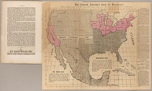 United States presidential election, 1856 - An anti-slavery map printed during the Presidential election campaign of 1856 by the John C. Fremont Campaign.