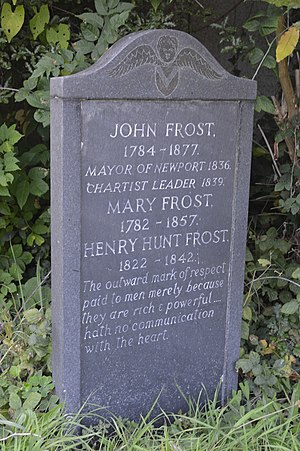 John Frost (Chartist) - New 1980s headstone on John Frost's grave