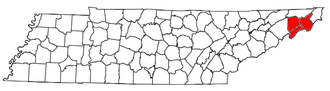 Johnson City, Tennessee metropolitan area - Location of the Johnson City Metropolitan Statistical Area in Tennessee