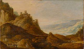 Gebirgslandschaft mit Burg