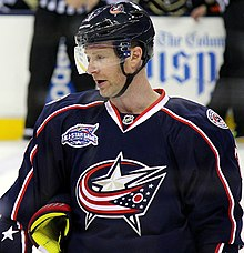 Photo of Leopold with the Columbus Blue Jackets in 2014