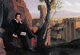 Percy Bysshe Shelley - Posthumous Portrait of Shelley Writing Prometheus Unbound in Italy, painting by Joseph Severn, 1845
