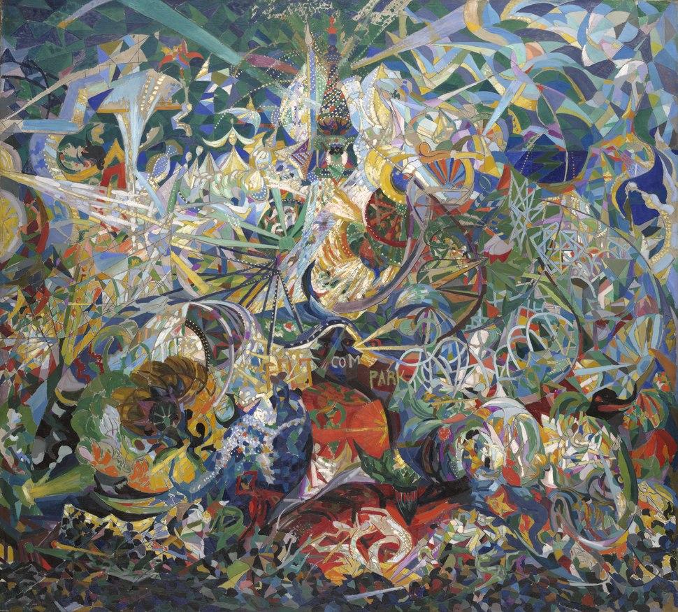 Joseph Stella, 1913–14, Battle of Lights, Coney Island, Mardi Gras, oil on canvas, 195.6 × 215.3 cm, Yale University Art Gallery