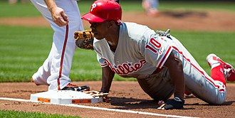 Juan Pierre - Pierre diving back into first base on a pickoff attempt