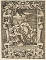 Jupiter at left in the form of a shepherd accompanied by Mnemosyne, set within an elaborate cartouche, from the 'Loves, Rages and Jealousies of Juno' MET DP812649.jpg