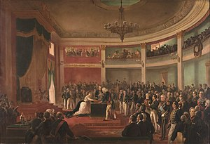 Oath - Princess Isabel of Brazil takes oath as Regent of the Empire of Brazil, c. 1870