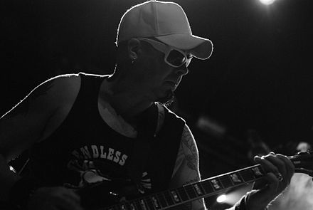 Steve White performing in Bolków, Poland in July 2009 KMFDM Castle Party 2009 13.jpg