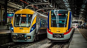 Rail transport in Malaysia - Class 91 of KTM ETS for Intercity Express and Class 92 of KTM Komuter at Kuala Lumpur Railway Station.