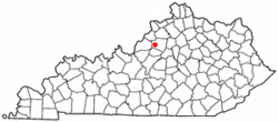 Location of Simpsonville, Kentucky