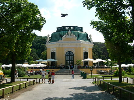 The imperial breakfast pavilion, today used as a cafe and restaurant Kaiserliches Pavillon Schoenbrunn August 2006.jpg
