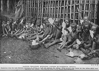 Child labour in Africa - Africa has a long history of child labour. Above, colonial Cameroon children weaving in 1919.