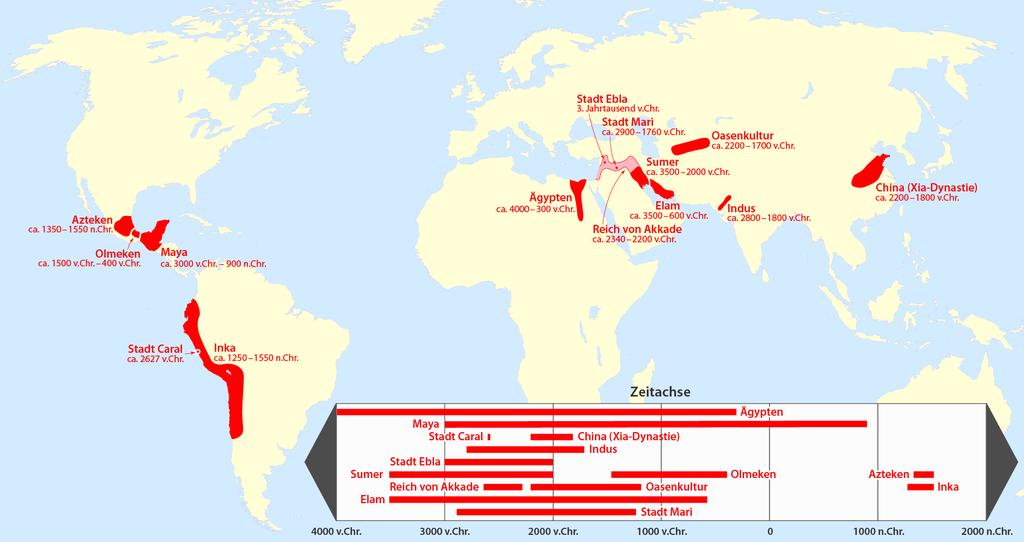 Karte der geschichtswissenschaftliche Hochkulturen